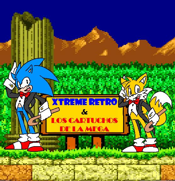 Sonic and Tails Navegando entre los cartuchos de Mega Drive