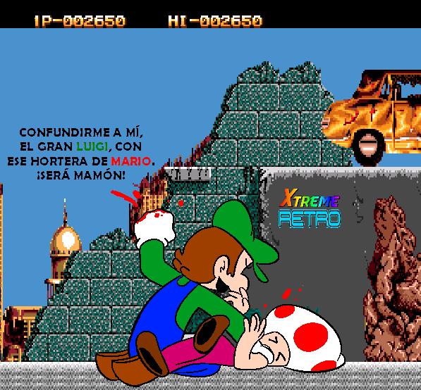Two Crude Dudes Luigi VS Toad Pixel Art