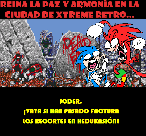 Two Crude Dudes Sonic vs Knuckles Pixel Art
