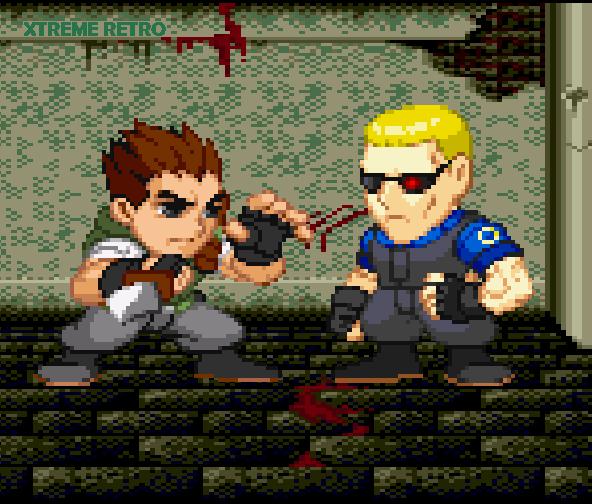Resident Evil PSX Saturn Pixel Art Chibi Chris Redfield Albert Wesker Xtreme Retro Biohazard