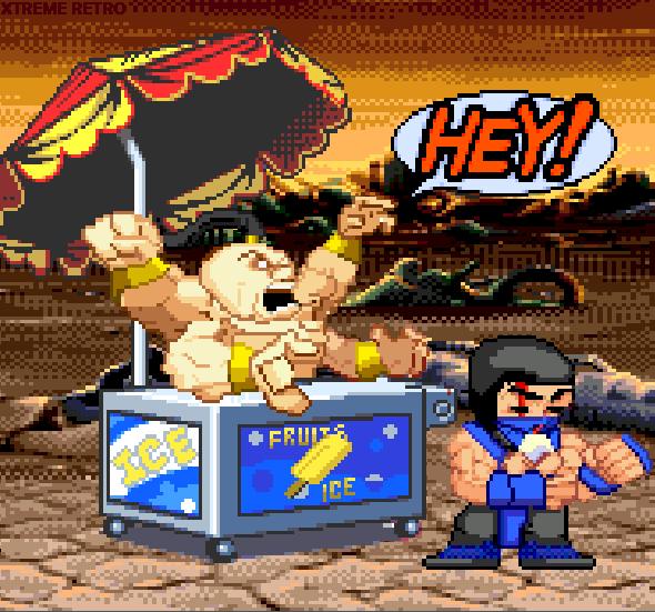Mortal Kombat Chibi Goro Sub Zero Funny Pixel Xtreme Retro Sega Genesis