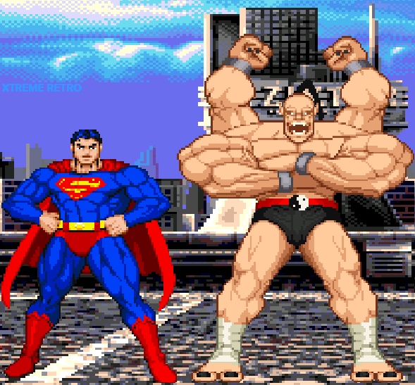 Mortal Kombat VS DC Universe Pixel Art Superman Goro Xtreme Retro