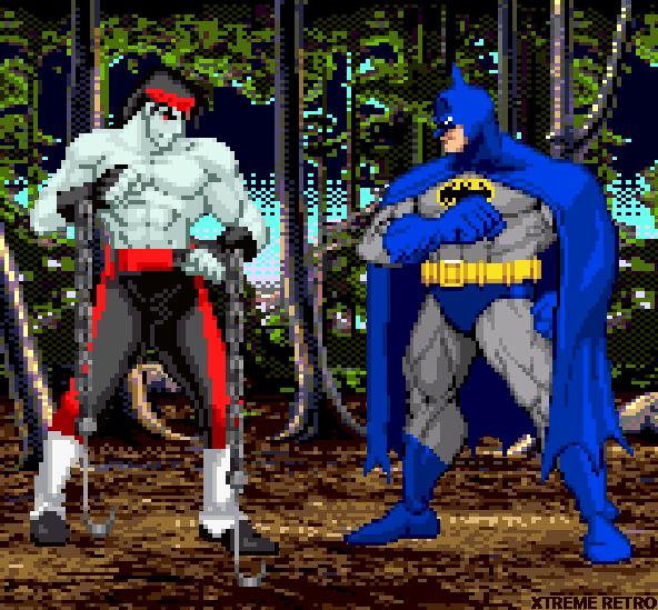 Mortal Kombat VS DC Universe Pixel Art Zombie Liu Kang VS Batman Xtreme Retro