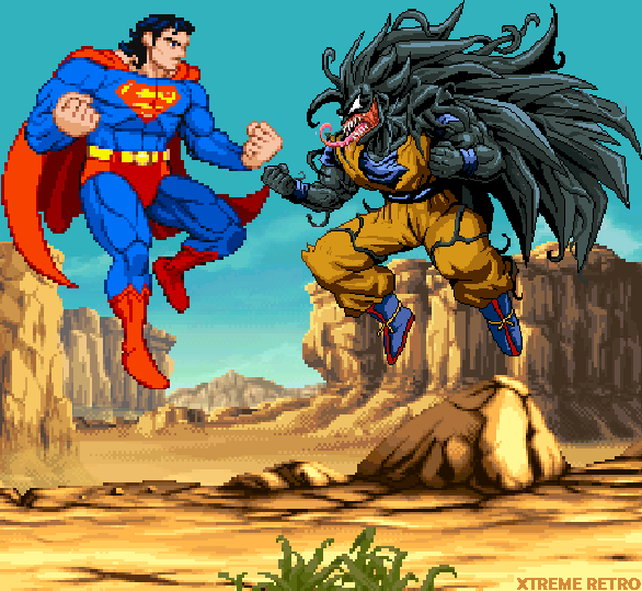 Superman VS Venom Son Goku Pixel Xtreme Retro