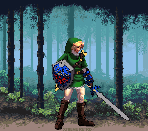 The Legend of Zelda Nintendo Pixel Art Link Forest Xtreme Retro Lost Woods