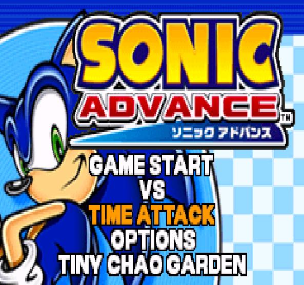 Sonic Advance Game Options Xtreme Retro