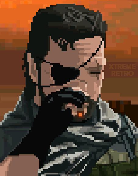 Big Boss Metal Gear Solid V The Phantom Pain Konami Pixel Art Xtreme Retro PS3 XBOX 360 PS4 XBOX One