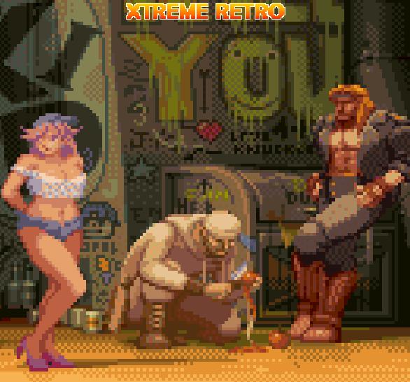Final Fight Capcom Poison and Axl Slash Pixel Art Xtreme Retro