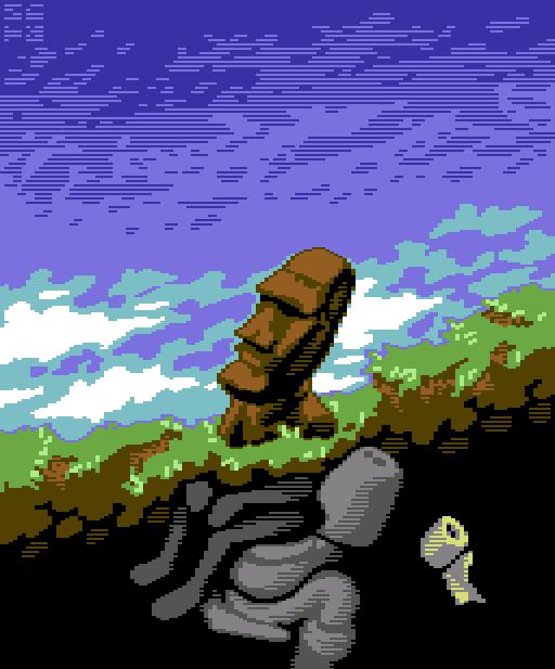 Moai Konami Funny Pixel Art Xtreme Retro Fart