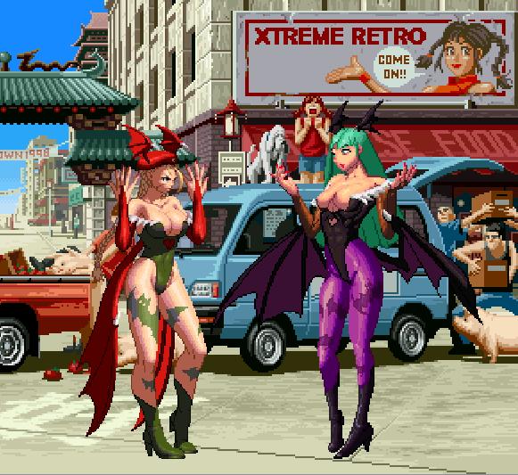 Street Fighter VS Darkstalkers Cammy VS Morrigan Pixel Art Capcom Xtreme Retro