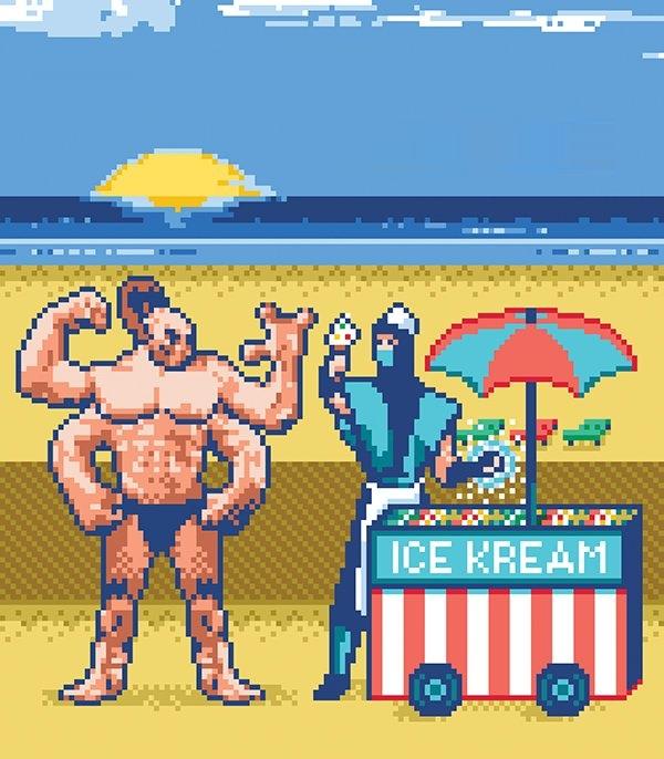 Summer Mortal Kombat 8 bit Pixel Art Xtreme Retro