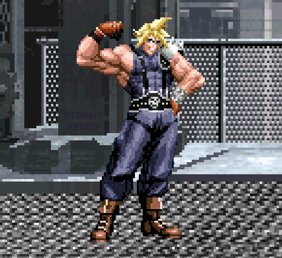 Final Fantasy VII Cloud Strife Shinra Mako Reactor Pixel Art Xtreme Retro Square PSOne