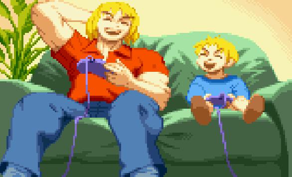 Ken Masters playing videogames Street Fighter Capcom Pixel Art Xtreme Retro