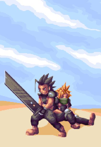 Final Fantasy VII Crisis Core Pixel Art Xtreme Retro Square RPG