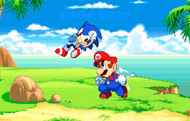 Sonic VS Mario Sega VS Nintendo Pixel Art Xtreme Retro Green Hill Zone