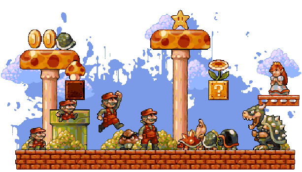Classic Super Mario Bros Nintendo Pixel Art Xtreme Retro Mushroom