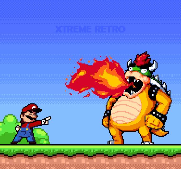 Super Mario DOS Nintendo Pixel Art Xtreme Retro King Bowser Mushroom Kingdom