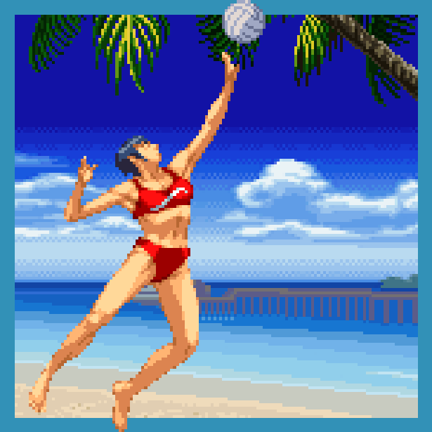 Beach Spikers Virtua Beach Volleyball Sega AM2 Arcade GameCube GC Xtreme Retro Pixel Art