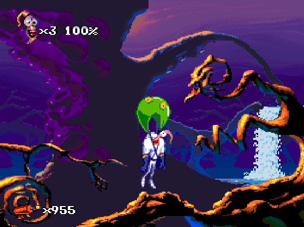 Earthworm Jim 2 Shiny Entertainment David Perry Sega Genesis Mega Drive MD Super Nintendo SNES PC MS-DOS Saturn Sony PlayStation PSX PSone Game Boy Advance GBA Xtreme Retro 2