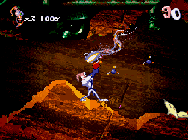 Earthworm Jim 2 Shiny Entertainment David Perry Sega Genesis Mega Drive MD Super Nintendo SNES PC MS-DOS Saturn Sony PlayStation PSX PSone Game Boy Advance GBA Xtreme Retro 9