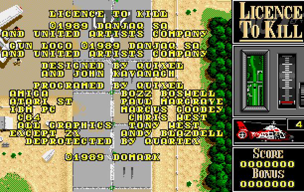 007 Licence to Kill Domark Ltd Quixel Amiga Amstrad CPC Atari ST BBC Micro Commodore 64 C64 DOS MSX ZX Spectrum Xtreme Retro 2