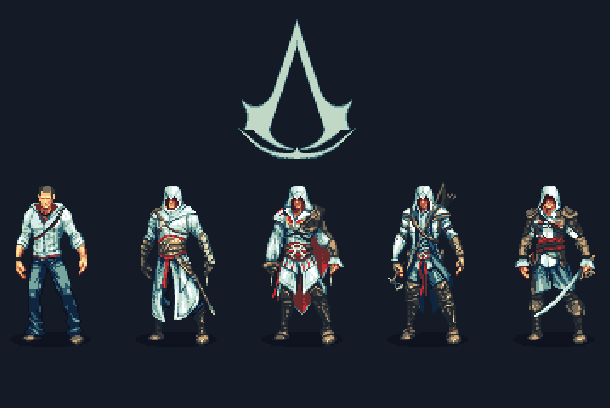 Assassins Creed Unity Ubisoft Montreal Microsoft Windows Sony PlayStation 4 PS4 Microsoft Xbox One Pixel Art Xtreme Retro