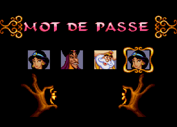 Disney's Aladdin Capcom Super Nintendo SNES Password Xtreme Retro