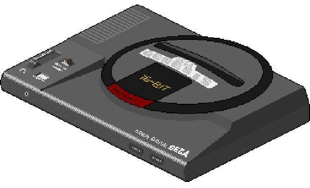 Sega Genesis Mega Drive MD 16 bit Console Xtreme Retro Pixel Art
