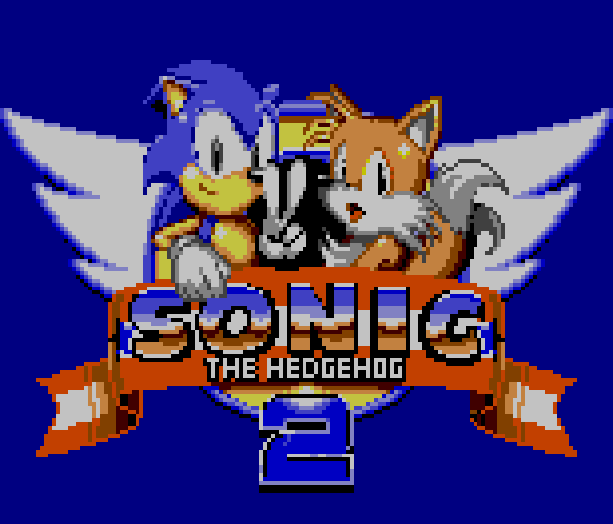 Sonic the Hedgehog 2 Logo Sega Master System MS Game Gear GG Miles Tails Prower Pixel Art Xtreme Retro