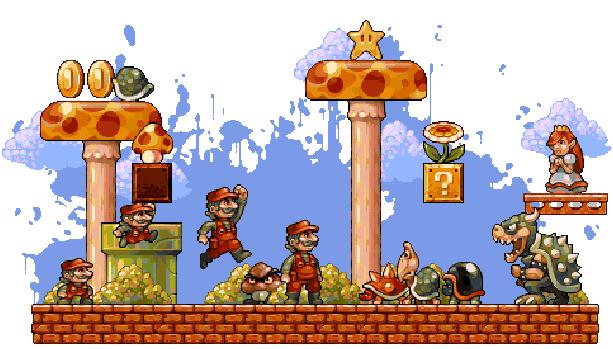 pixel art mushroom hongo de mario bros